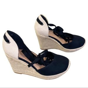 Torrid Black Ankle Wrap Espadrilles | 10.5